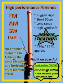 FM AM extended range radio Antenna Home Camping Caravan